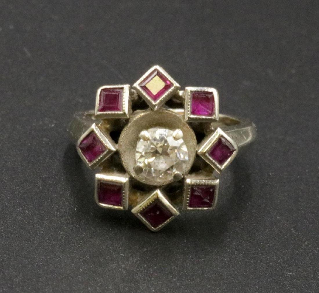 Art Deco 14Kt WG Diamond & Ruby Starburst Ring