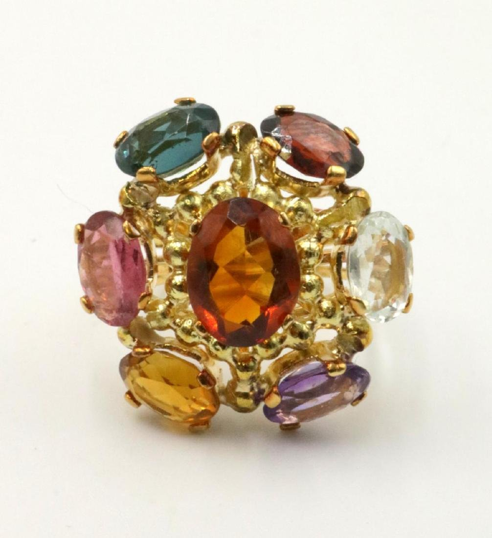 18Kt & Multi-Semi Precious Stone Ring