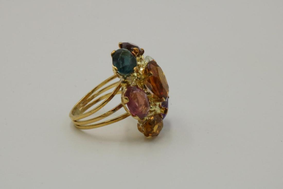 18Kt & Multi-Semi Precious Stone Ring - 2