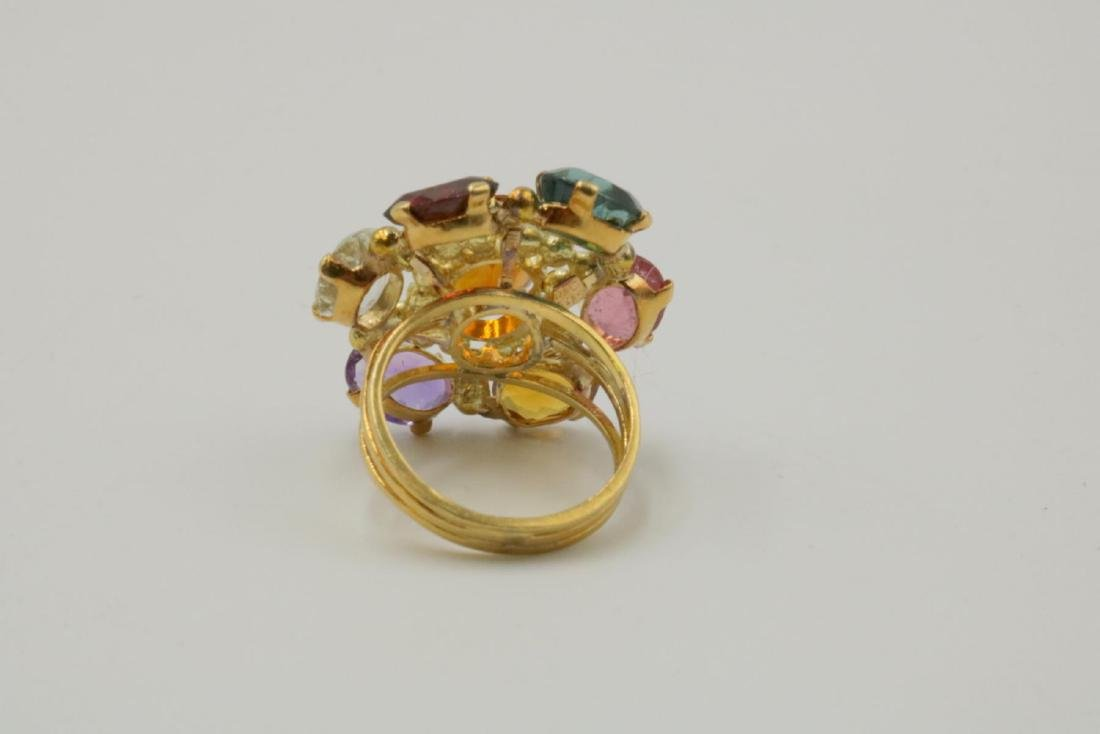18Kt & Multi-Semi Precious Stone Ring - 3
