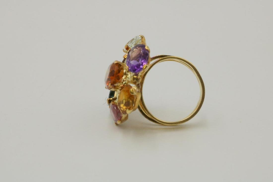 18Kt & Multi-Semi Precious Stone Ring - 4