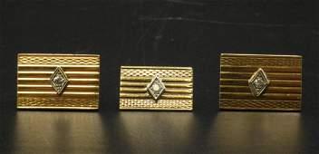 14Kt & Diamond Cufflink & Tie Tack Set