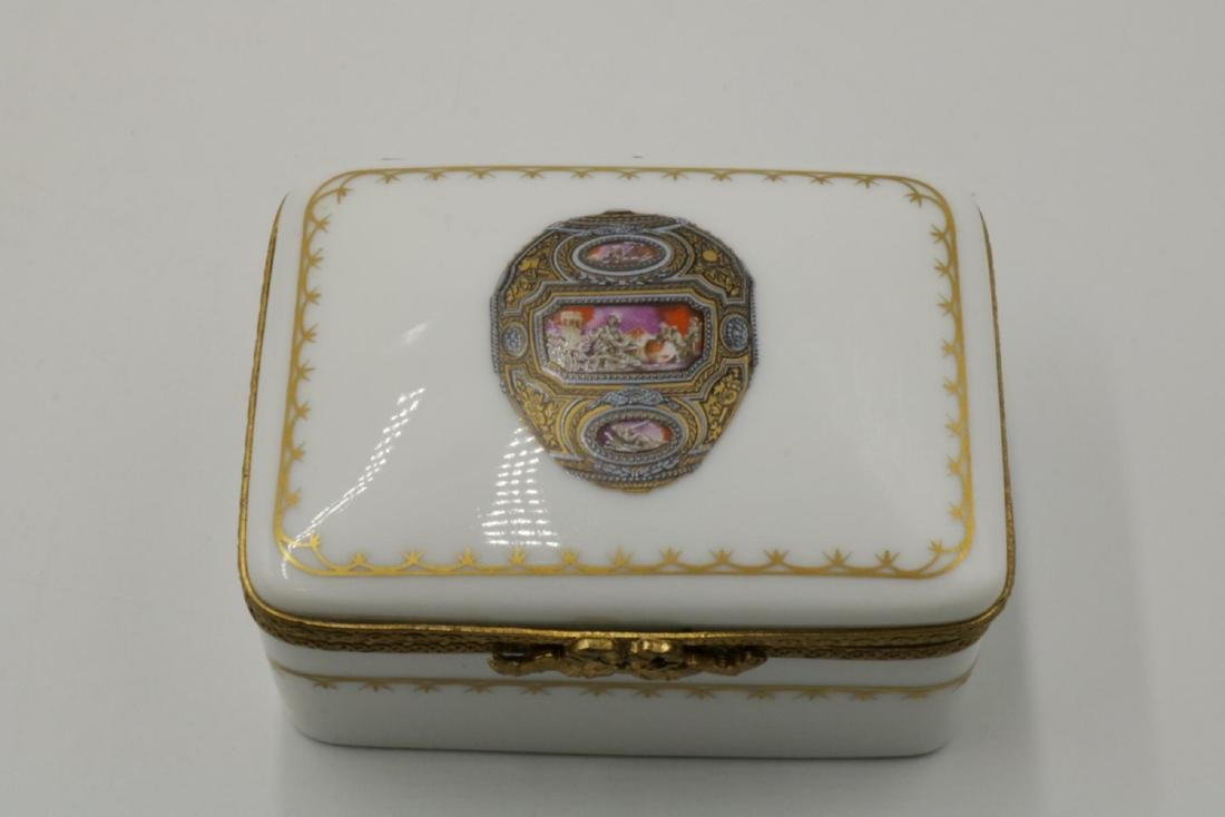 Faberge Limoges France Hand Painted Porcelain Pill Box - 2