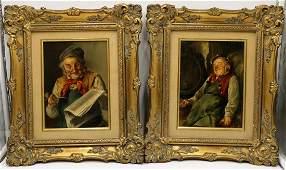 Pair of 19th C. German Oil Paintings on Board