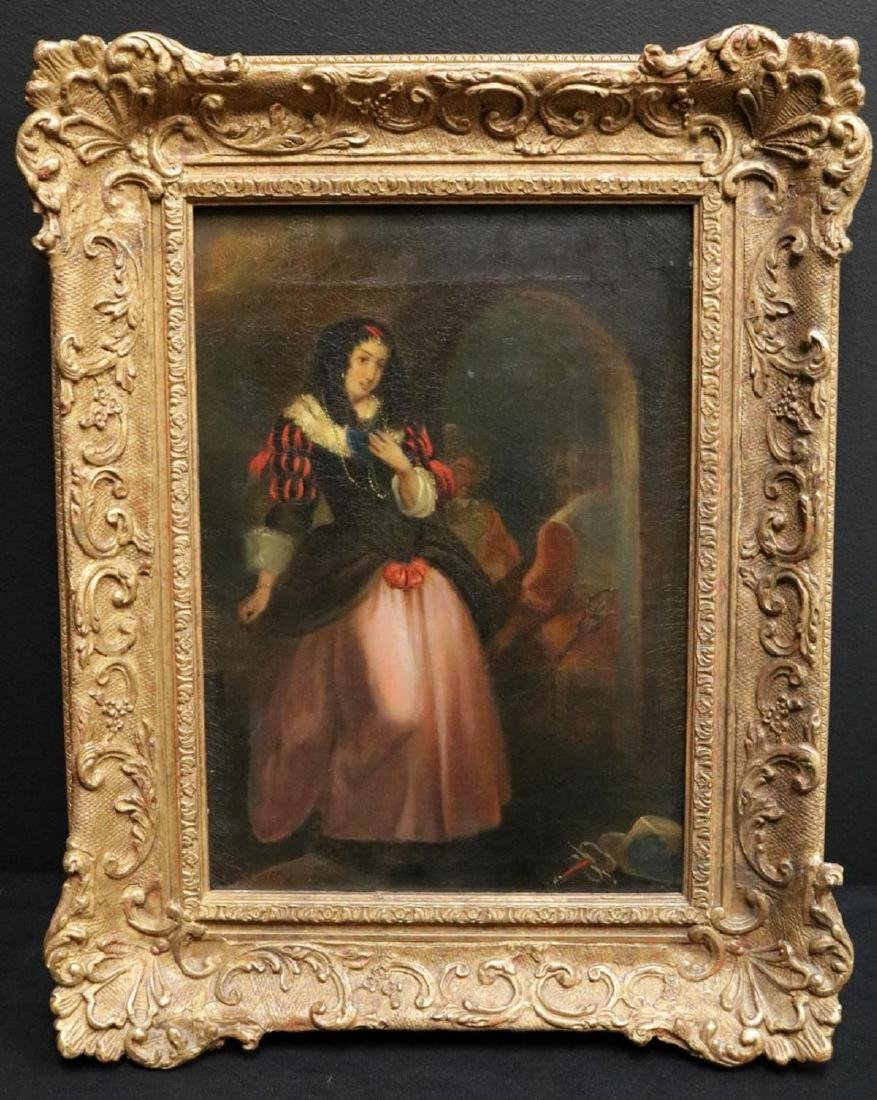 19th C. Signed Oil Painting on Canvas - 2