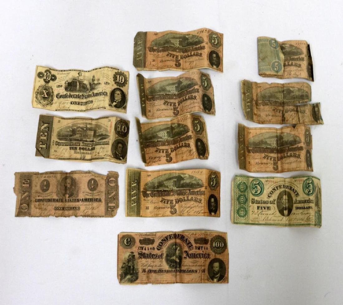 12 Confederate Currency Bills