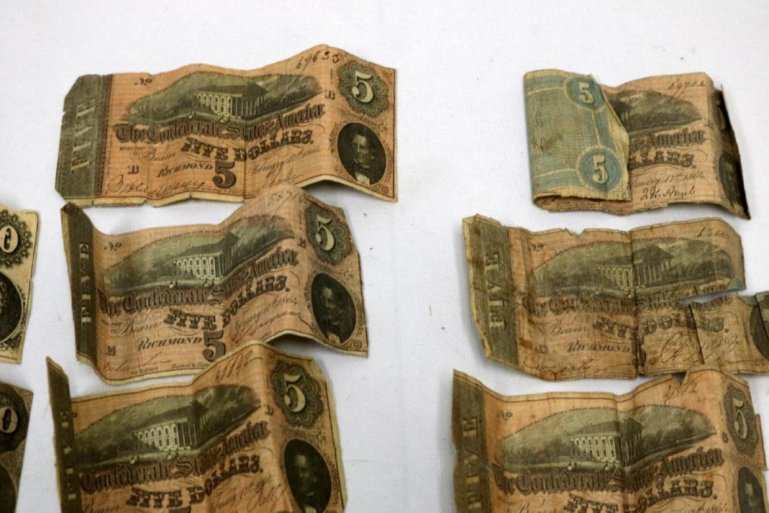 12 Confederate Currency Bills - 2