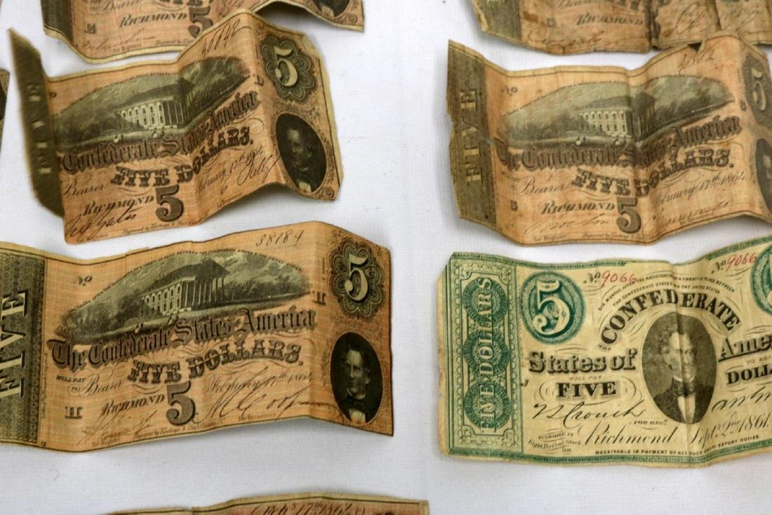 12 Confederate Currency Bills - 3