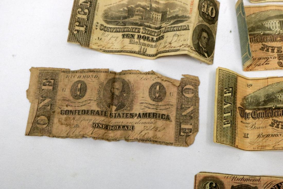 12 Confederate Currency Bills - 5