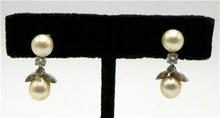 14Kt Pearl  Diamond Earrings
