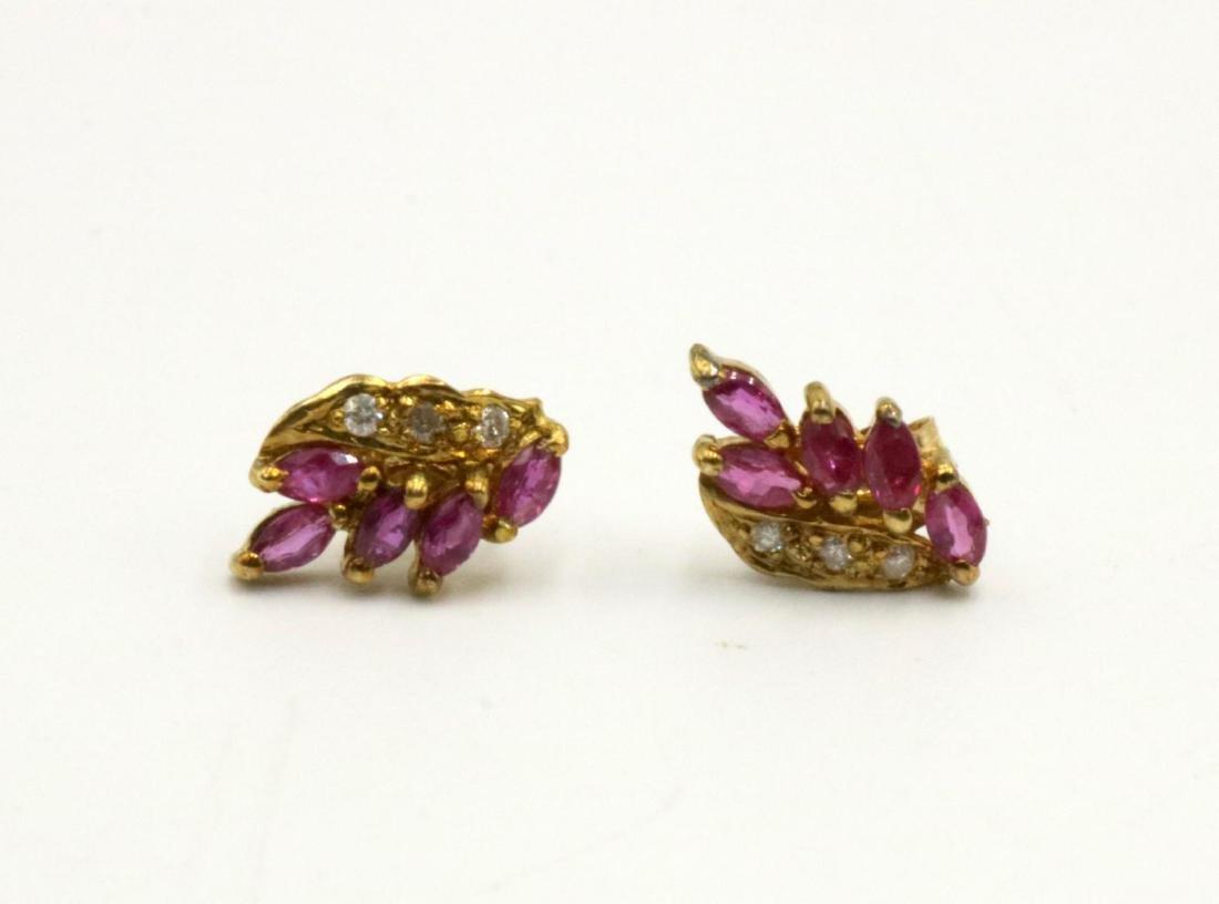 14Kt Ruby & Diamond Earrings