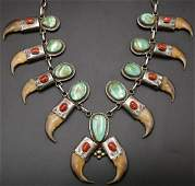 Rare Native American Sterling & Bear Claw Squash