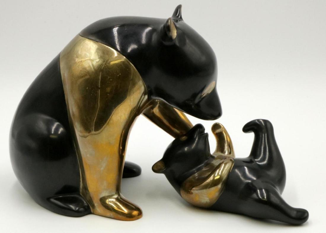 """Loet Vanderveen """"Panda & Baby"""" Bronze Sculpture"""