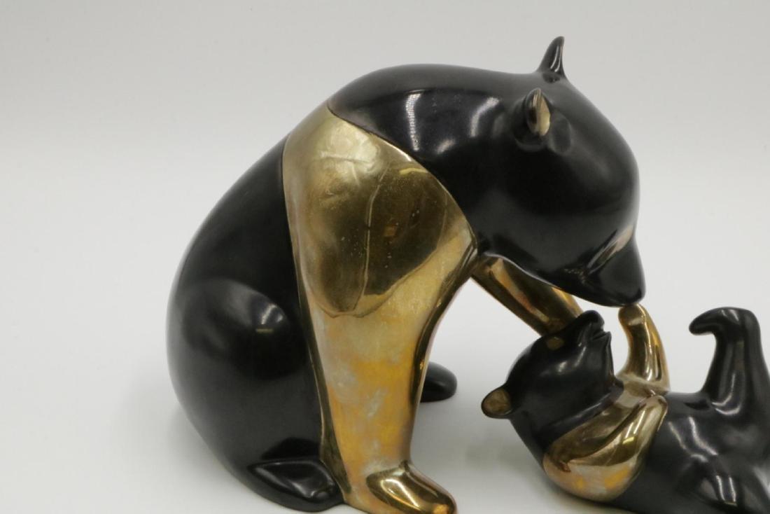 """Loet Vanderveen """"Panda & Baby"""" Bronze Sculpture - 2"""