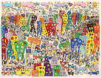 "Massive James Rizzi ""Crosstown Traffic"" 3-D Lithograph"