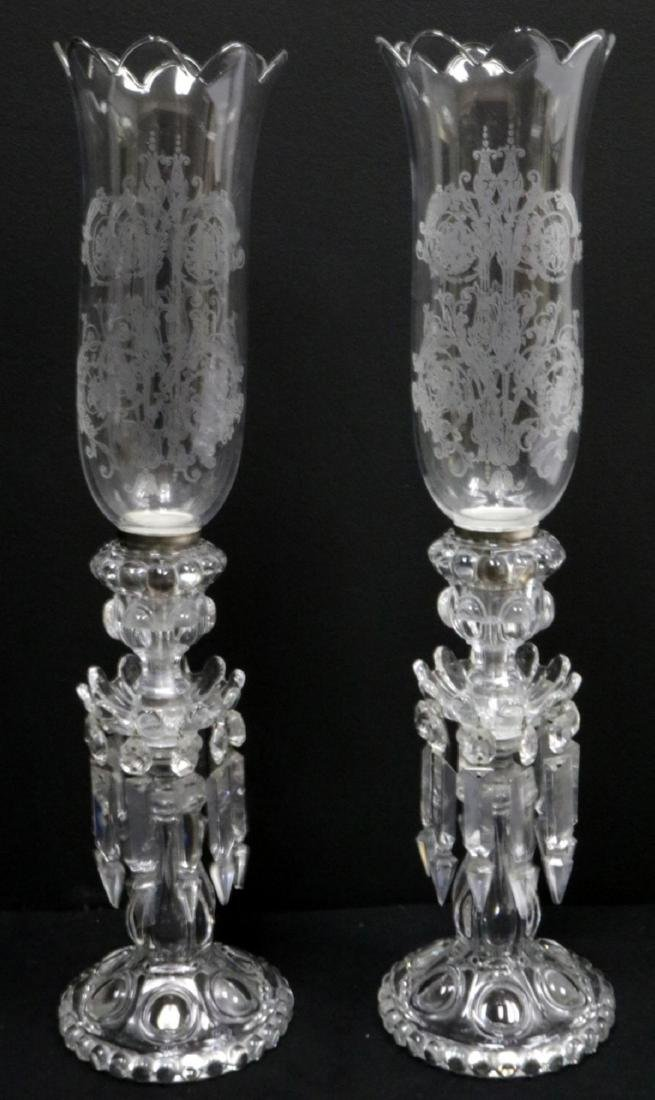 Vintage Baccarat Hurricane Girandole Crystal Lamps