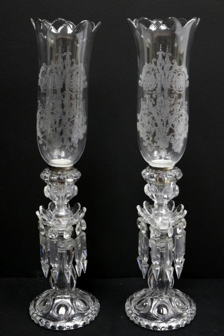 Vintage Baccarat Hurricane Girandole Crystal Lamps - 2