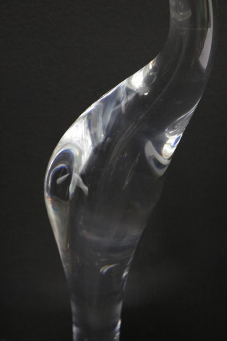 "Steuben ""Pink Flamingo"" Crystal Sculpture - 3"