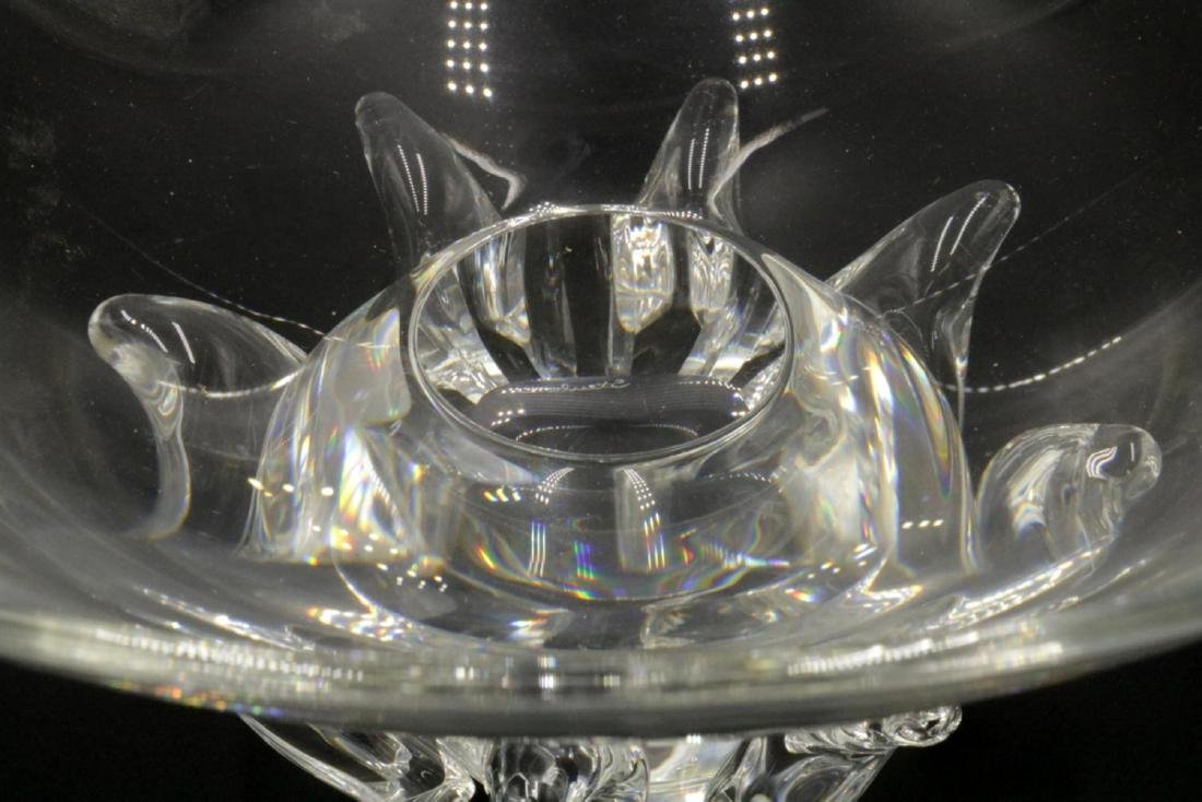 """Steuben """"Peony"""" Crystal Footed Bowl - 3"""