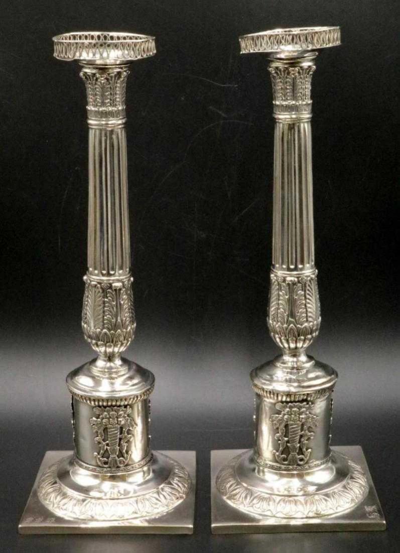 Mid 19th C. European Silver Column Candlesticks