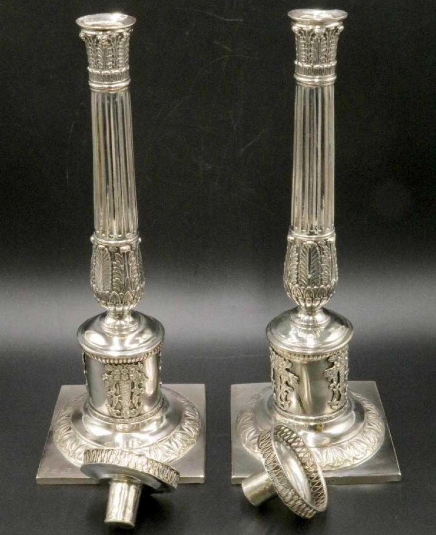 Mid 19th C. European Silver Column Candlesticks - 8