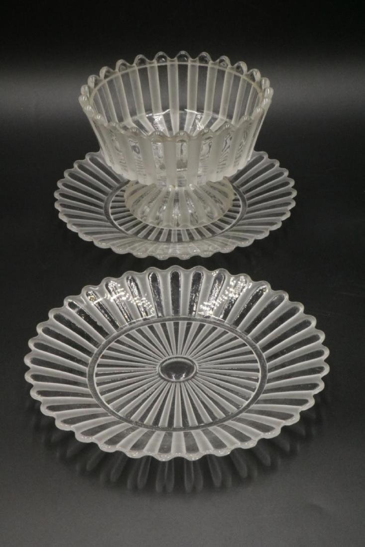 Vintage Baccarat Crystal Footed Bowl & Underplates - 2