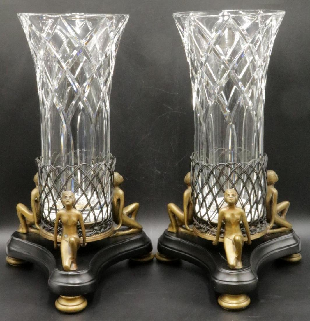 Pair of Figural Bronze & Crystal Vases