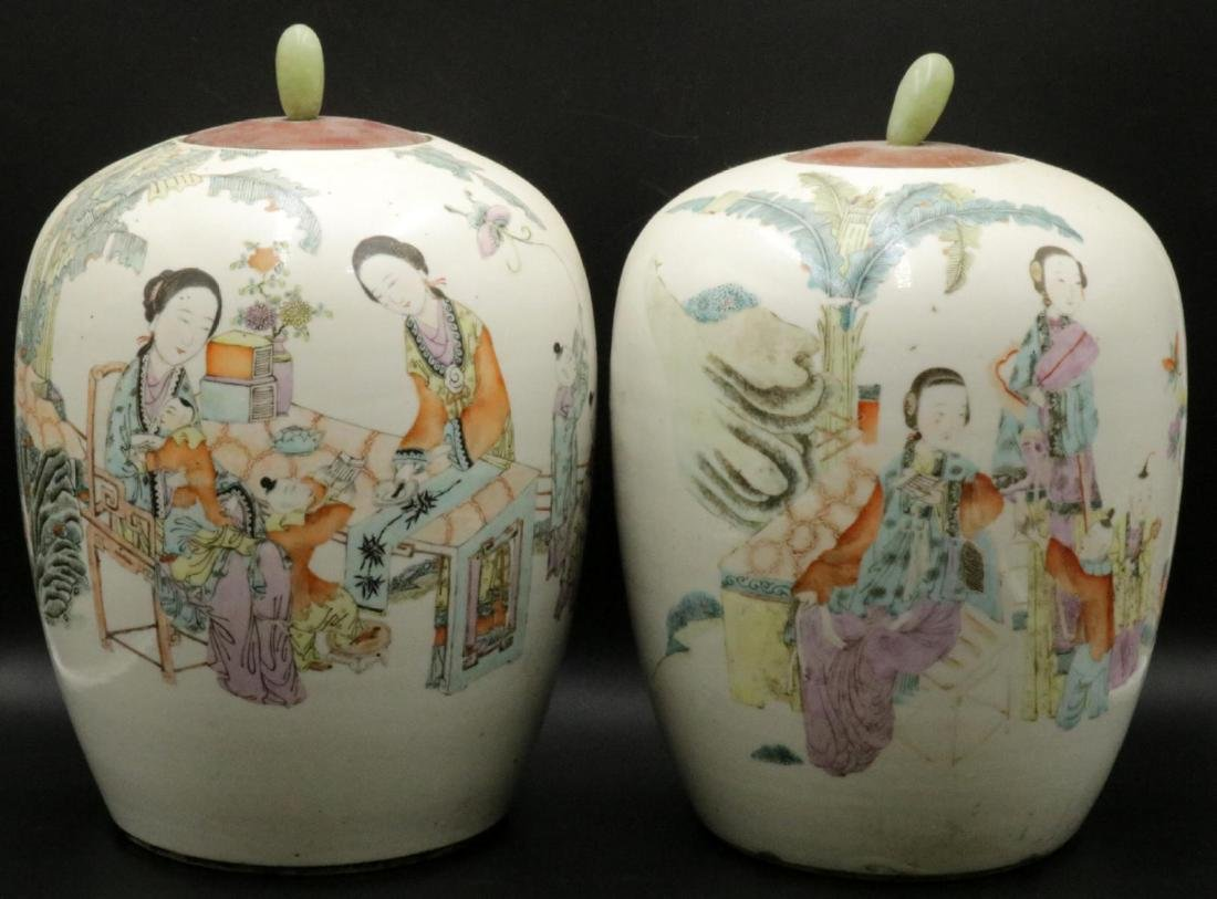 Antique Chinese Hand Painted Porcelain & Jade Jars