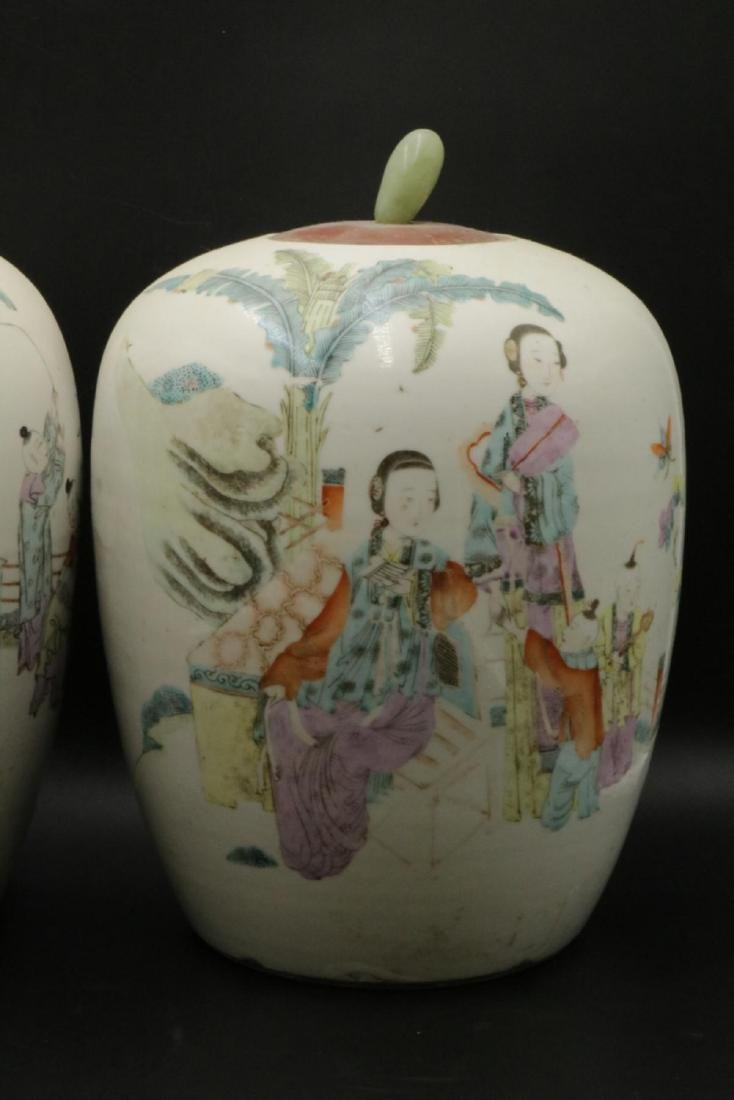 Antique Chinese Hand Painted Porcelain & Jade Jars - 3