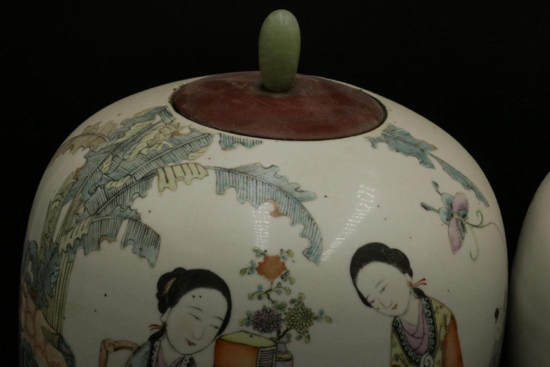 Antique Chinese Hand Painted Porcelain & Jade Jars - 4