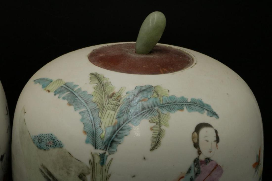 Antique Chinese Hand Painted Porcelain & Jade Jars - 5