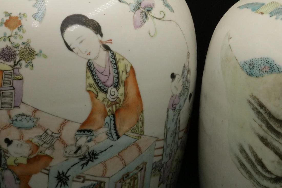 Antique Chinese Hand Painted Porcelain & Jade Jars - 6