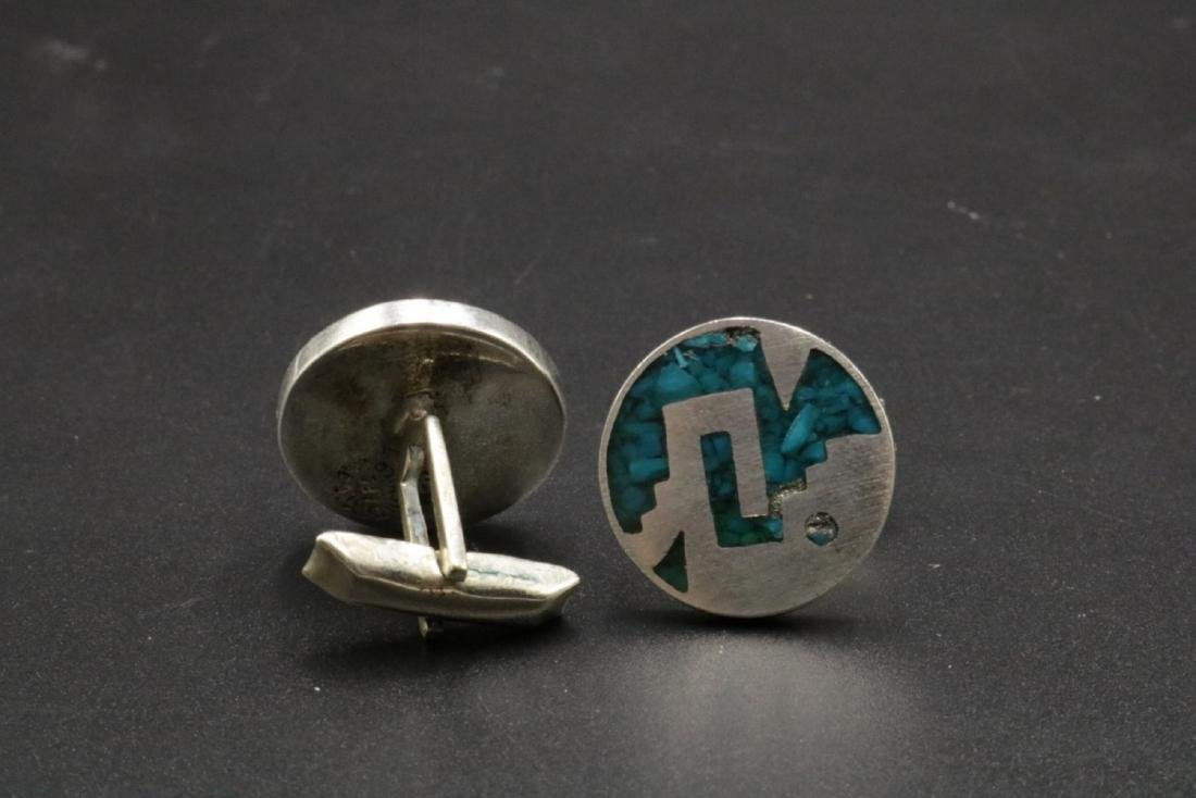 Taxco Sterling & Turquoise Cufflinks - 2
