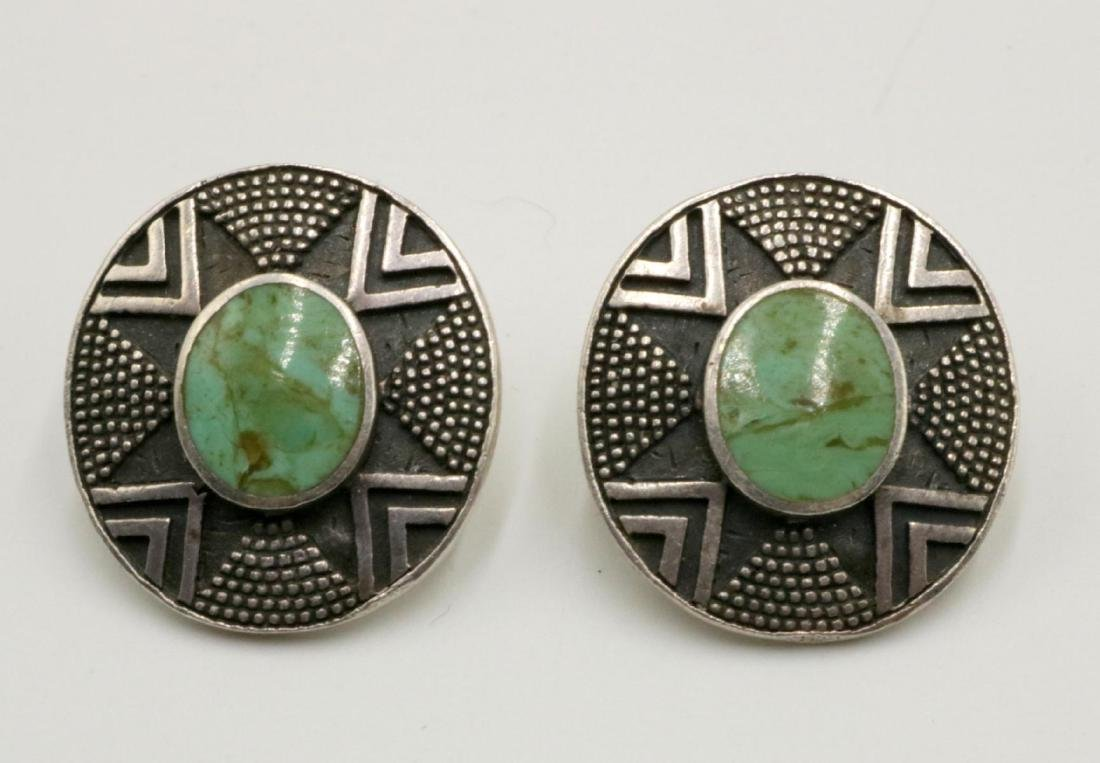 Signed Woods Sterling & Turquoise Earrings