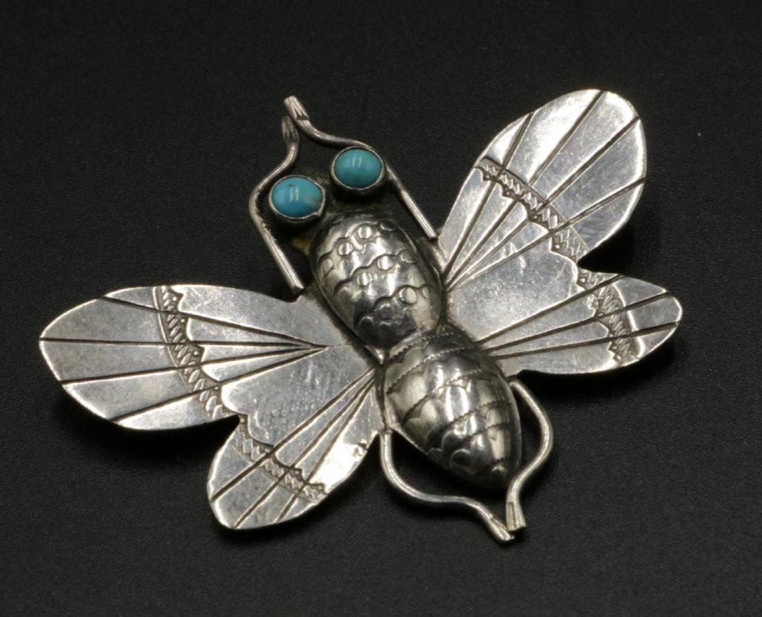 Sterling & Turquoise Butterfly Brooch