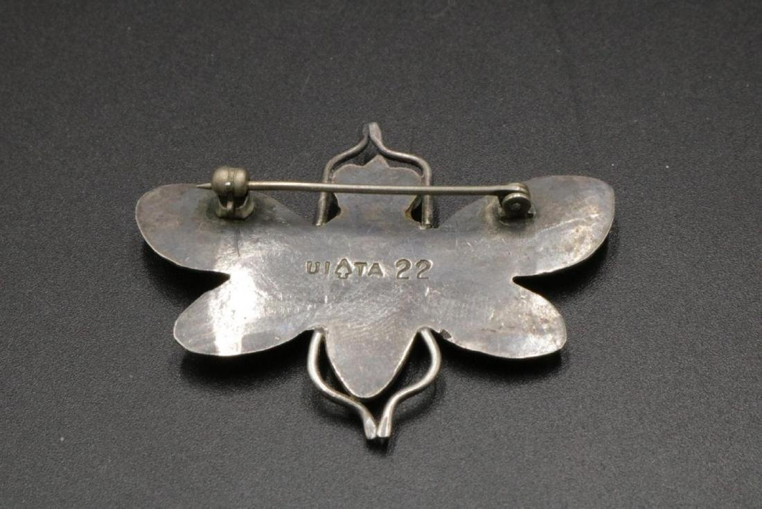 Sterling & Turquoise Butterfly Brooch - 2