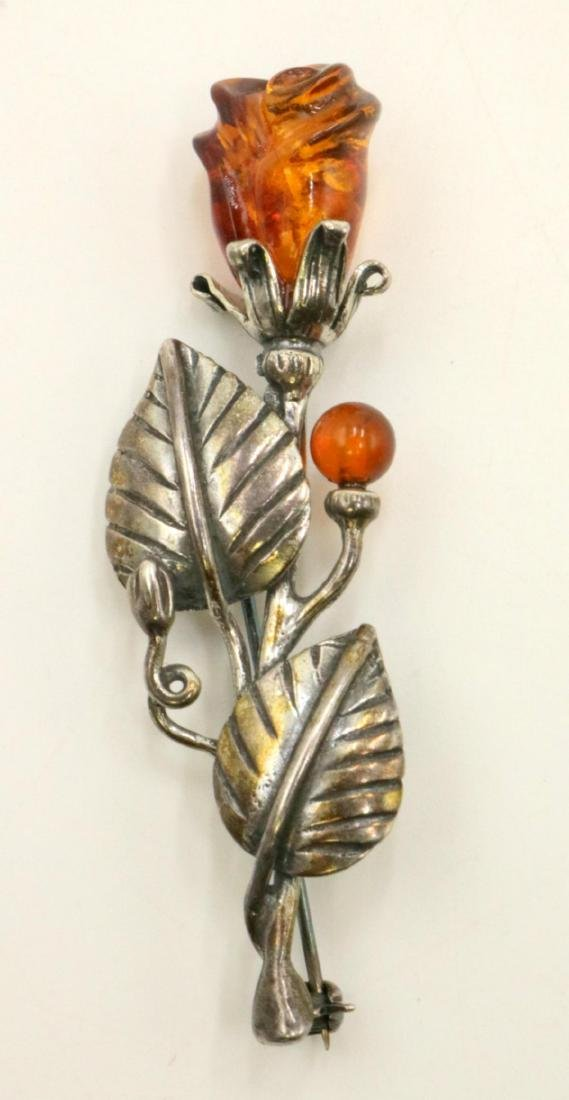 Beautiful Amber Floral Sterling Pin