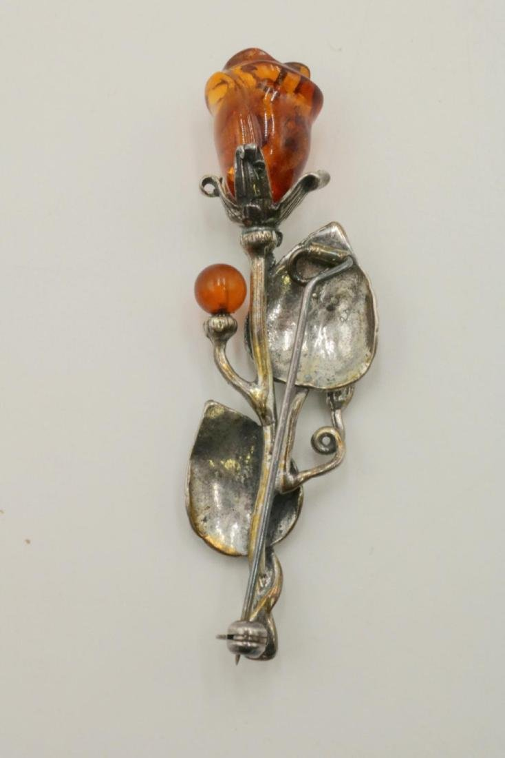 Beautiful Amber Floral Sterling Pin - 2