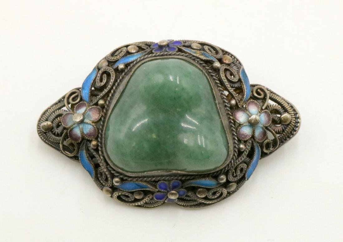 Antique Chinese Jade Silver & Enamel Pin