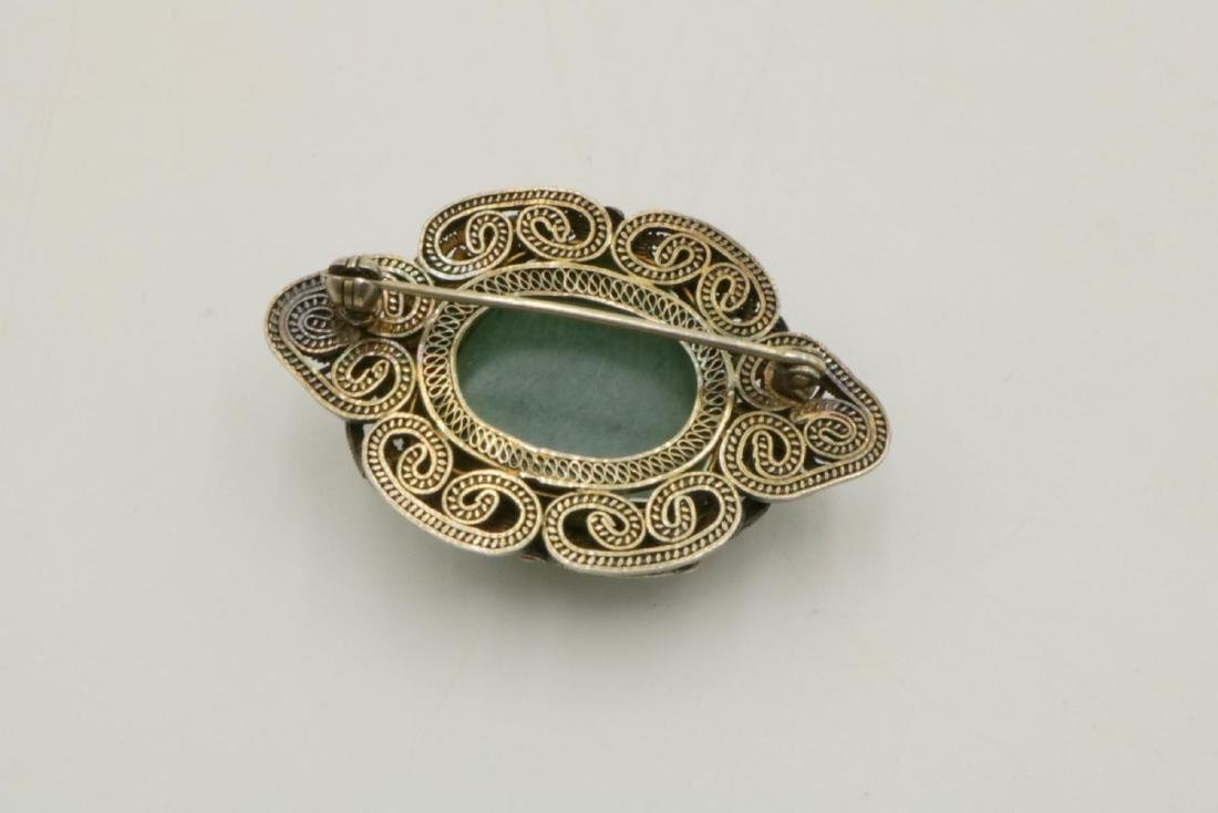 Antique Chinese Jade Silver & Enamel Pin - 2