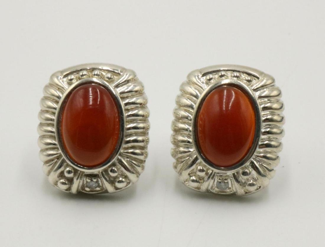 Judith Ripka Sterling & Cabochon Stone Earrings