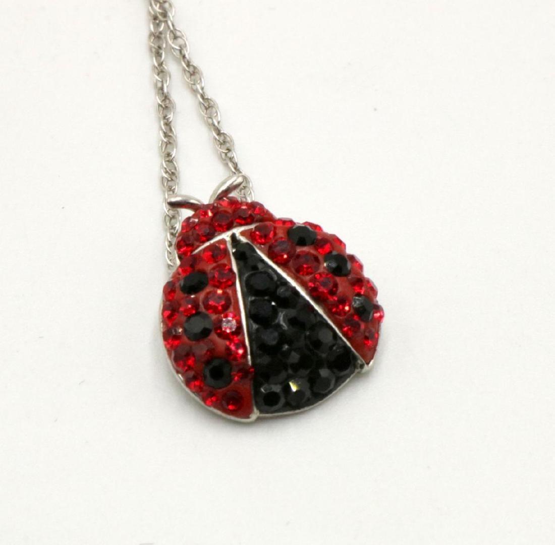Swarovski Sterling Lady Bug Pendant w/ Necklace