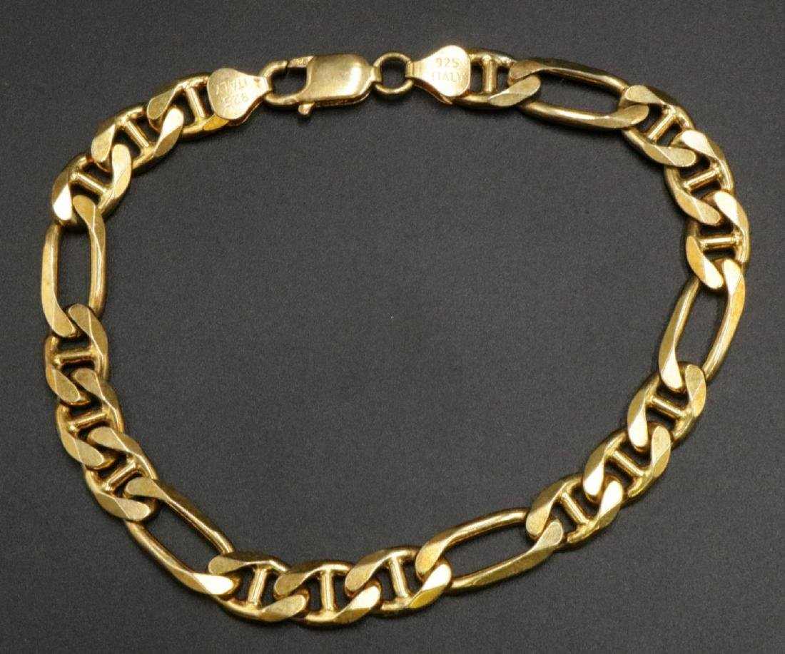 QGI Italy Vermeil Sterling Figaro Chain Bracelet