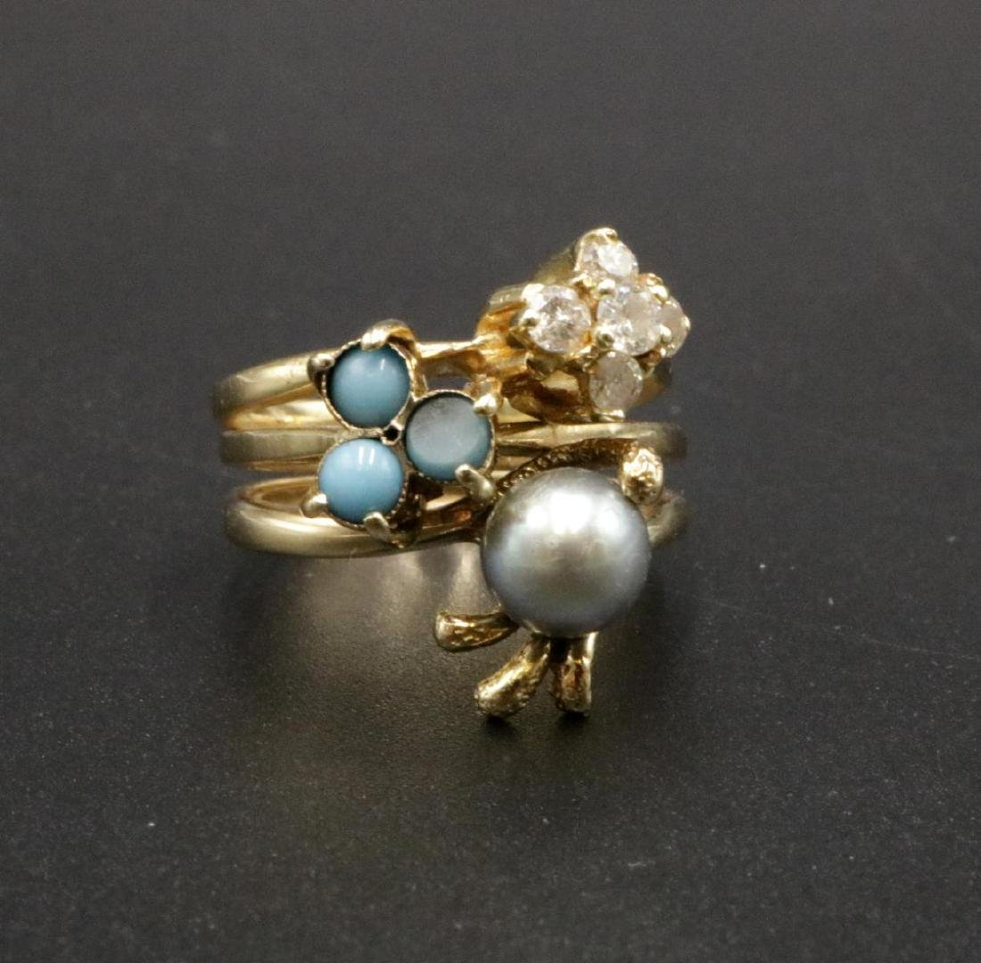 14Kt Turquoise & Pearl Ring