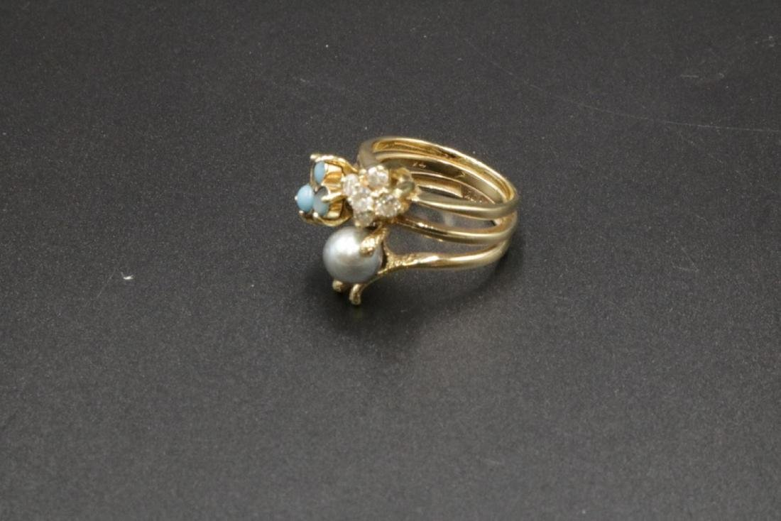 14Kt Turquoise & Pearl Ring - 2