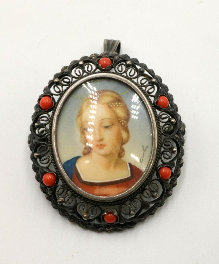 800 Silver & Coral Portrait Brooch
