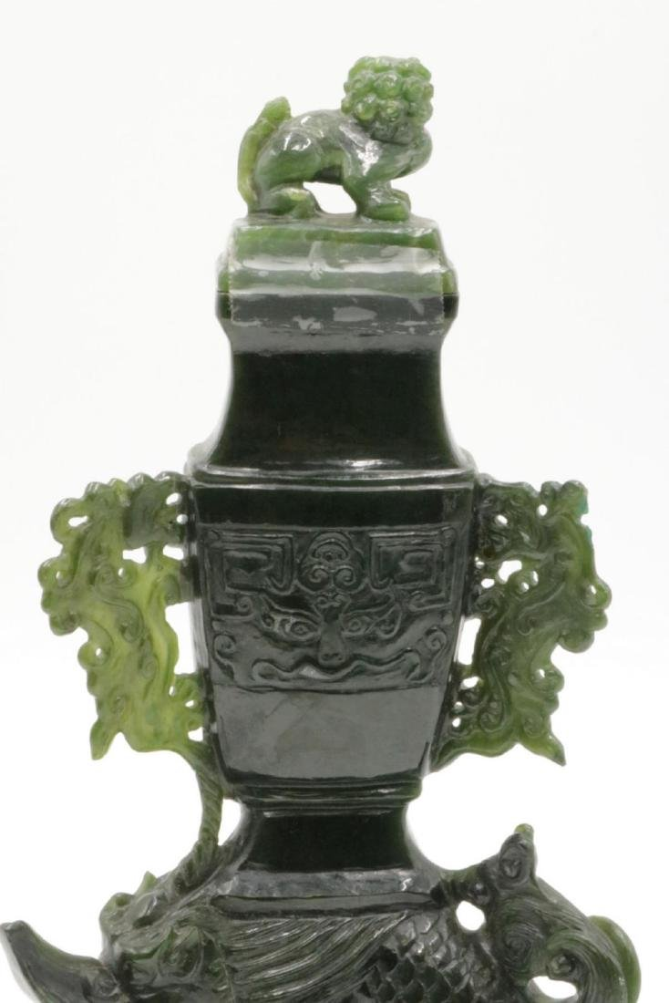 Chinese Spinach Green Jade Urn - 2