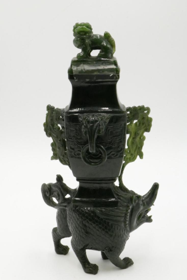 Chinese Spinach Green Jade Urn - 4