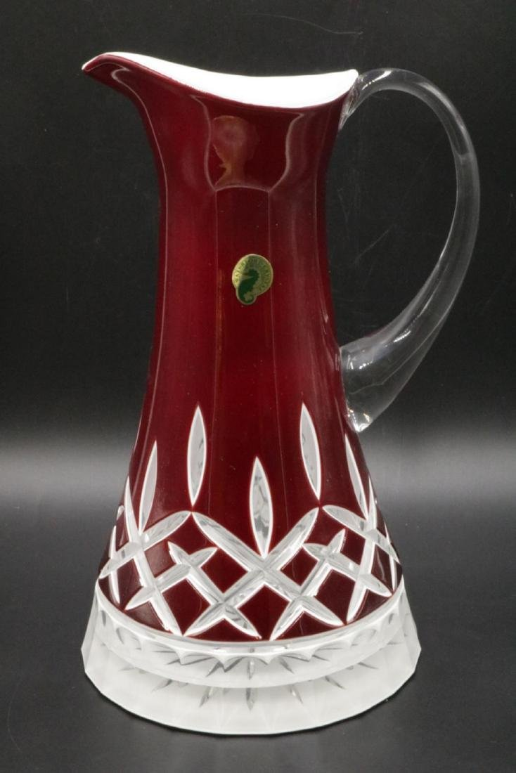 "Waterford ""Lismore"" Red Crystal Pitcher"