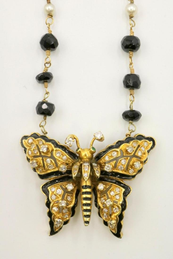 14Kt Diamond, Black Onyx, Akoya Pearls Butterfly